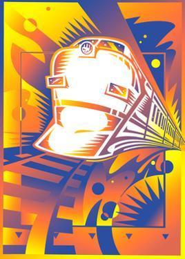 Passenger Train at Sunset by David Chestnutt