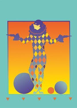Pierrot Standing Between Balls by David Chestnutt