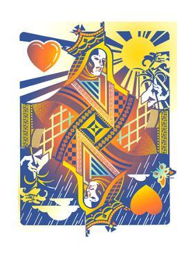 Playing Card Queen of Hearts by David Chestnutt