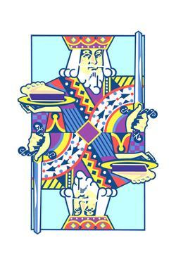 Playing Card with King Holding Cake and Sword by David Chestnutt