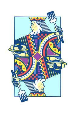 Playing Card with King Holding Pancakes by David Chestnutt