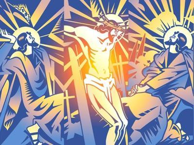 Praying, Carrying Cross and Crucifixion of Jesus Christ by David Chestnutt