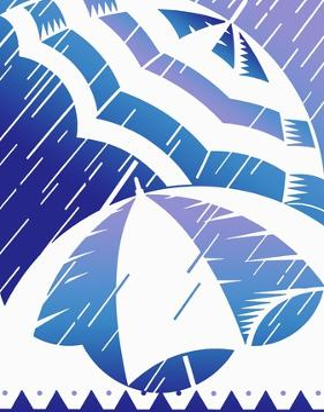 Rain on Stripey Umbrellas by David Chestnutt