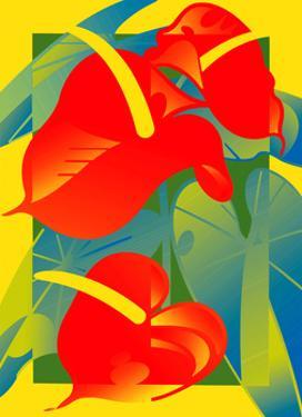 Red Anthurium Flowers by David Chestnutt