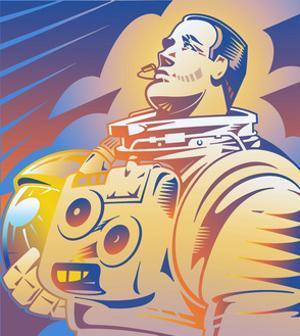 Retro Astronaut in Spacesuit Holding Helmet by David Chestnutt