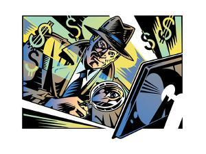 Retro Detective Investigating Computer Crime with Magnifying Glass by David Chestnutt