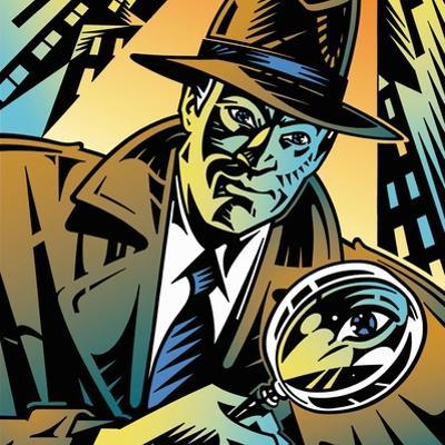 Retro Detective Looking Through Magnifying Glass in City by David Chestnutt