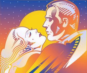 Retro Glamorous Couple Kissing in Moonlight by David Chestnutt