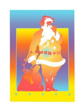 Santa Claus with Sack on Colored Background by David Chestnutt