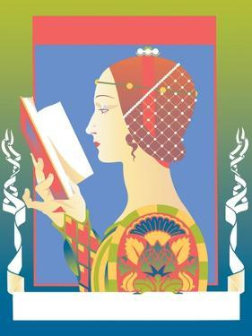 Side View of Woman Reading Book by David Chestnutt