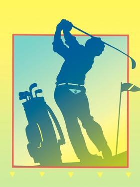 Silhouette of Golf Player in Golf Course by David Chestnutt