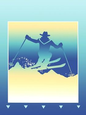 Silhouette of Man Skiing in Mountains by David Chestnutt