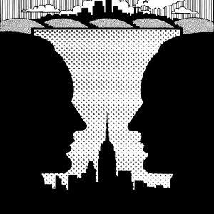 Silhouette of Men with Skyline in Background by David Chestnutt