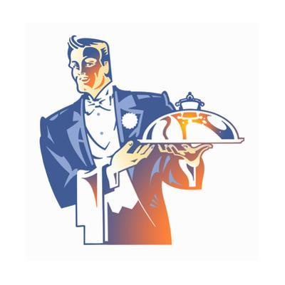 Silver Service Waiter in Tuxedo Carrying Domed Tray by David Chestnutt