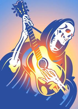 Skeleton Playing Guitar by David Chestnutt