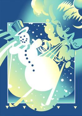 Snowman Skiing Against Blue Background by David Chestnutt