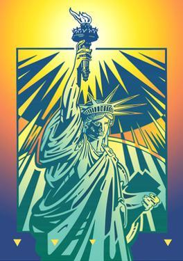 Statue of Liberty Against Colored Background by David Chestnutt