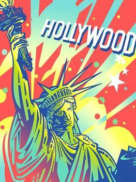 Statue of Liberty with Hollywood Sign Above by David Chestnutt