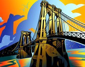 Suspension Bridge at Night by David Chestnutt