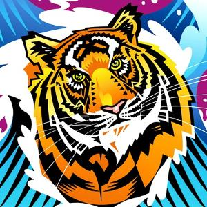 Tiger on Colored Background by David Chestnutt