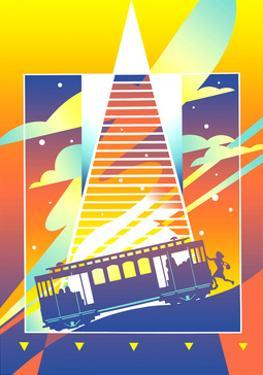 Tram on Colored Background by David Chestnutt