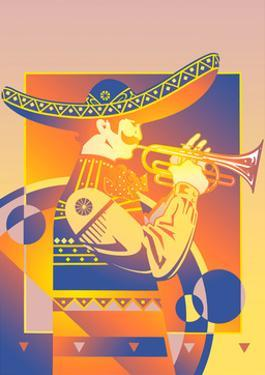 Trumpet Player in Sombrero by David Chestnutt