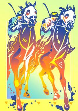 Two Jockeys on Horses by David Chestnutt