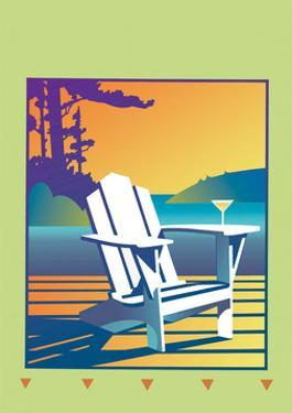 White Deck Chair with Martini Glass on Armrest by David Chestnutt
