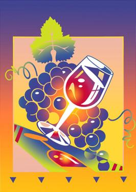 Wine Glass and Grape by David Chestnutt