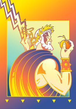Zeus Holding Lightning and Apple by David Chestnutt