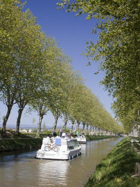 Barges on the Canal Du Midi, UNESCO World Heritage Site, in Spring, Languedoc-Roussillon, France, E by David Clapp