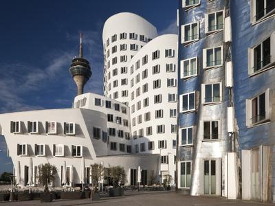 Neuer Zollhof Office Buildings with Rheinturm in Background, Medienhafen, Dusseldorf, Germany, Euro