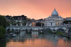 Ponte Sant'Angelo and St. Peter's Basilica at Sunset, Vatican City, Rome by David Clapp