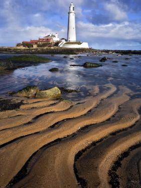 St. Marys Lighthouse with Sand Patterns, Newcastle, UK by David Clapp