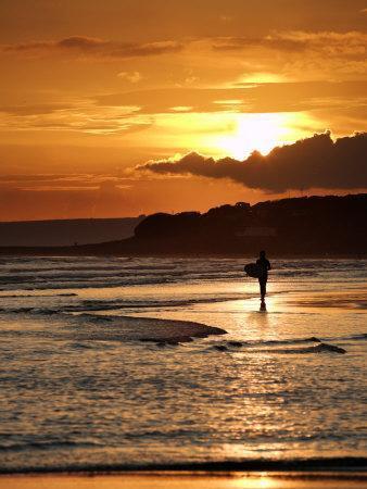 Surfer at Sunset, Devon, UK