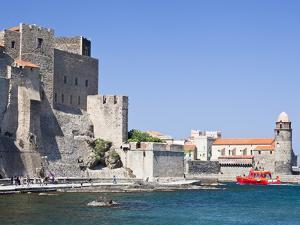 The Chateau-Royal and the Church of Notre-Dame-Des-Anges from the Harbour at Collioure, Cote Vermei by David Clapp