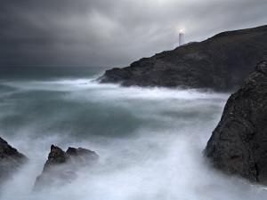 Trevose Lighthouse in a Storm, Cornwall, UK by David Clapp