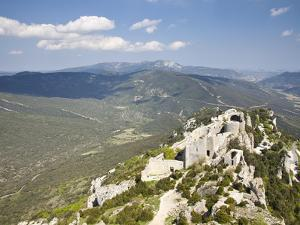 View of the Cathar Castle of Peyrepertuse in Languedoc-Roussillon, France, Europe by David Clapp
