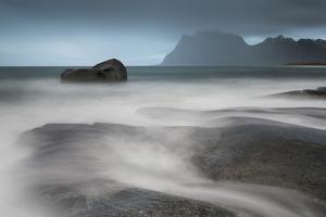 Water Breaks over Rocks at Uttakleiv, Lofoten Islands, Arctic, Norway, Scandinavia, Europe by David Clapp