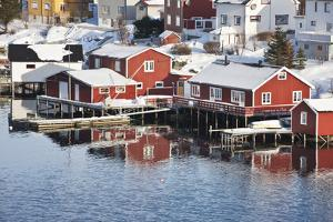 Wooden Cabins at the Waters Edge in the Town of Raine in the Lofoten Islands, Arctic, Norway by David Clapp