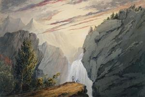 At the Waterfall, c.1850 by David Claypoole Johnston