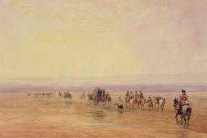 On Lancaster Sands, Sunset (Crossing Lancaster Sands) C.1835 by David Cox
