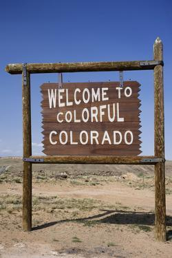 Colorado State Road Sign with Blue Sky, USA by David Davis
