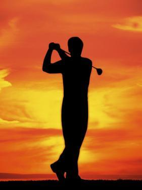 Silhouette of Man Playing Golf by David Davis