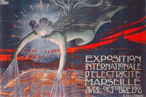 Poster Advertising the Exposition Internationale d'Electricite at Marseille, 1908 by David Dellepiane