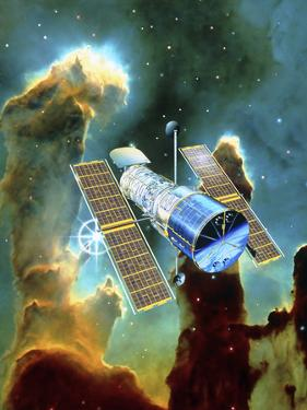 Artwork of Hubble Space Telescope And Eagle Nebula by David Ducros