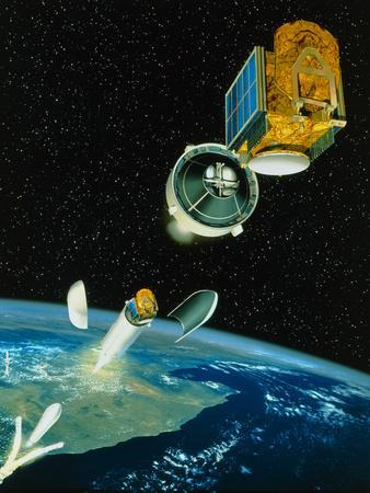 Artwork of Satellite Launch Sequence of Ariane 5