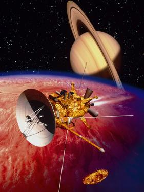 Artwork of the Cassini Spacecraft Near Titan by David Ducros