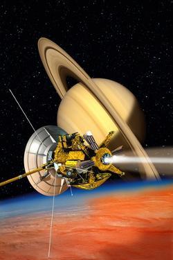 Cassini-Huygens Probe At Titan, Artwork by David Ducros