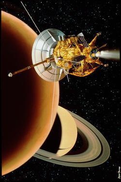 Cassini Spacecraft Near Titan by David Ducros
